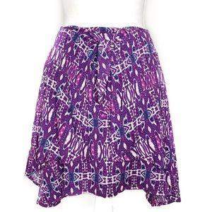 Xhilaration Purple Tie Front Skirt 100% Rayon Sz M